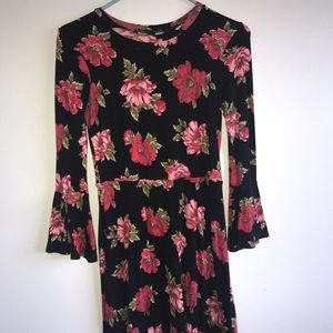 Black dress with red flowers and bell sleeves